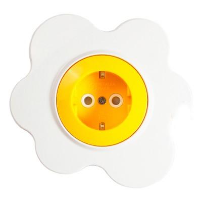 Розетка Happy Цветок - Розетка 1я с з/к и з/ш 16A, желто/белый - 16.51.052 15542698 от Svetodom