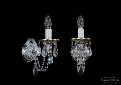 Светильник настенный бра Bohemia Ivele 1600/1/NBХрустальные<br><br><br>S освещ. до, м2: 2<br>Крепление: настенное<br>Тип лампы: накаливания / энергосбережения / LED-светодиодная<br>Тип цоколя: E14<br>Количество ламп: 1<br>Ширина, мм: 100<br>MAX мощность ламп, Вт: 60<br>Размеры: Диаметр - 10*22см<br>Расстояние от стены, мм: 220<br>Высота, мм: 250<br>Цвет арматуры: серый
