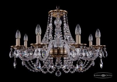 Люстра хрустальная Bohemia Ivele 1606/8/240/FPПодвесные<br><br><br>Установка на натяжной потолок: Да<br>S освещ. до, м2: 21<br>Крепление: Крюк<br>Тип товара: Люстра хрустальная<br>Тип лампы: накаливания / энергосбережения / LED-светодиодная<br>Тип цоколя: E14<br>Количество ламп: 8<br>MAX мощность ламп, Вт: 60<br>Диаметр, мм мм: 700<br>Размеры: Диаметр - 70см<br>Высота, мм: 460<br>Цвет арматуры: золотой