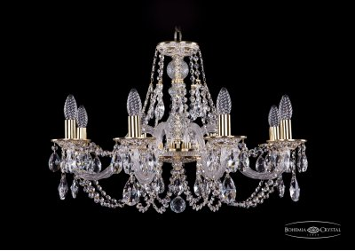 Люстра Bohemia Ivele 1606/8/240/GWПодвесные<br><br><br>S освещ. до, м2: 16<br>Тип товара: Люстра<br>Тип лампы: накаливания / энергосбережения / LED-светодиодная<br>Тип цоколя: E14<br>Количество ламп: 8<br>MAX мощность ламп, Вт: 40<br>Диаметр, мм мм: 700<br>Высота, мм: 460<br>Цвет арматуры: Золото беленное