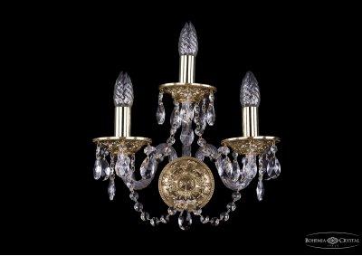 Светильник настенный бра Bohemia Ivele 1610/3/GХрустальные<br><br><br>Тип лампы: накаливания / энергосбережения / LED-светодиодная<br>Тип цоколя: E14<br>Количество ламп: 3<br>MAX мощность ламп, Вт: 60<br>Размеры: Диаметр - 29*22см<br>Цвет арматуры: золотой