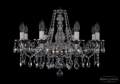 Люстра хрустальная Bohemia Ivele 1613/8/220/NBПодвесные<br><br><br>Установка на натяжной потолок: Да<br>S освещ. до, м2: 21<br>Крепление: Крюк<br>Тип товара: Люстра хрустальная<br>Тип лампы: накаливания / энергосбережения / LED-светодиодная<br>Тип цоколя: E14<br>Количество ламп: 8<br>MAX мощность ламп, Вт: 60<br>Диаметр, мм мм: 630<br>Размеры: Диаметр - 63см<br>Высота, мм: 410<br>Цвет арматуры: серый
