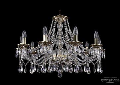 Люстра хрустальная Bohemia Ivele 1613/10/300/GBПодвесные<br><br><br>S освещ. до, м2: 30<br>Тип товара: Люстра хрустальная<br>Тип лампы: накаливания / энергосбережения / LED-светодиодная<br>Тип цоколя: E14<br>Количество ламп: 10<br>MAX мощность ламп, Вт: 60<br>Размеры: Диаметр - 81см<br>Цвет арматуры: Золото черненное