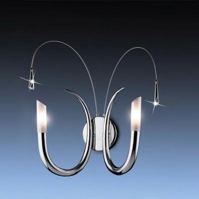 Светильник Odeon Light 1614/2W хром DavidaМодерн<br><br><br>S освещ. до, м2: 5<br>Тип товара: Светильник настенный бра<br>Тип лампы: галогенная / LED-светодиодная<br>Тип цоколя: G9<br>Количество ламп: 2<br>Ширина, мм: 220<br>MAX мощность ламп, Вт: 40<br>Высота, мм: 450<br>Цвет арматуры: серебристый
