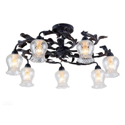 Светильник потолочный Favourite 1614-7U FleurПотолочные<br><br><br>Установка на натяжной потолок: Ограничено<br>S освещ. до, м2: 14<br>Крепление: Планка<br>Тип товара: светильник потолочный<br>Скидка, %: 73<br>Тип лампы: Накаливания / энергосбережения / светодиодная<br>Тип цоколя: E14<br>Количество ламп: 7<br>MAX мощность ламп, Вт: 40<br>Размеры: D690*H340<br>Цвет арматуры: черный