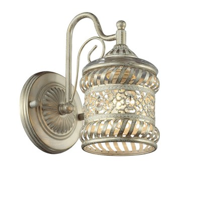 Светильник Favourite 1623-1WКлассические<br><br><br>Тип лампы: Накаливания / энергосбережения / светодиодная<br>Тип цоколя: E14<br>Цвет арматуры: белый с золотистой патиной<br>Количество ламп: 1<br>Размеры: W130*H230*D210<br>MAX мощность ламп, Вт: 40