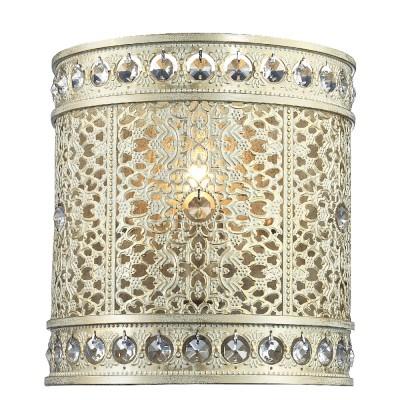 Светильник Favourite 1627-1WВосточный стиль<br><br><br>Тип лампы: Накаливания / энергосбережения / светодиодная<br>Тип цоколя: E14<br>Количество ламп: 1<br>MAX мощность ламп, Вт: 40<br>Размеры: W210*H220*D145<br>Цвет арматуры: белый с золотистой патиной
