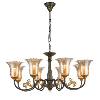 Светильник Favourite 1642-8PПодвесные<br><br><br>Установка на натяжной потолок: Да<br>S освещ. до, м2: 16<br>Крепление: Крюк<br>Тип товара: Люстра<br>Скидка, %: 25<br>Тип лампы: Накаливания / энергосбережения / светодиодная<br>Тип цоколя: E14<br>Количество ламп: 8<br>MAX мощность ламп, Вт: 40<br>Размеры: D740*H490/1490<br>Цвет арматуры: Золотой