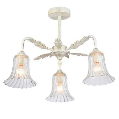 Светильник Favourite 1645-3UПотолочные<br><br><br>Установка на натяжной потолок: Ограничено<br>S освещ. до, м2: 6<br>Крепление: Планка<br>Тип товара: Потолочный светильник<br>Скидка, %: 31<br>Тип лампы: Накаливания / энергосбережения / светодиодная<br>Тип цоколя: E14<br>Количество ламп: 3<br>MAX мощность ламп, Вт: 40<br>Размеры: D440*H365<br>Цвет арматуры: белый с золотистой патиной