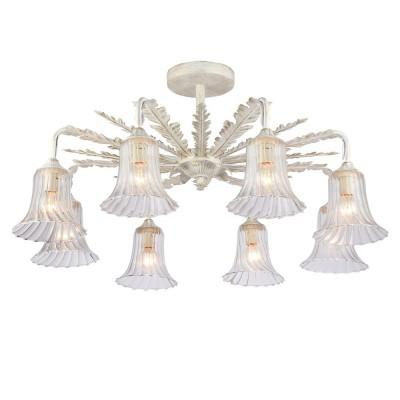 Светильник Favourite 1645-8UПотолочные<br><br><br>Установка на натяжной потолок: Ограничено<br>S освещ. до, м2: 16<br>Крепление: Планка<br>Тип товара: Потолочный светильник<br>Скидка, %: 51<br>Тип лампы: Накаливания / энергосбережения / светодиодная<br>Тип цоколя: E14<br>Количество ламп: 8<br>MAX мощность ламп, Вт: 40<br>Размеры: D750*H375<br>Цвет арматуры: белый с золотистой патиной