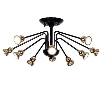 Люстра паук лофт Favourite 1678-10UПотолочные<br><br><br>Установка на натяжной потолок: Ограничено<br>Крепление: Планка<br>Тип товара: Потолочный светильник<br>Тип лампы: LED<br>Тип цоколя: MR16<br>Количество ламп: 10<br>MAX мощность ламп, Вт: 5<br>Размеры: D740*H310<br>Цвет арматуры: черный