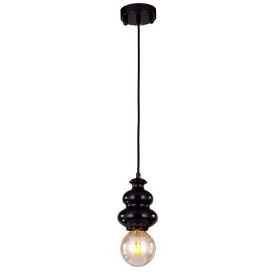 Светильник Favourite 1682-1PОдиночные<br><br><br>Тип товара: Люстра<br>Тип лампы: Накаливания / энергосбережения / светодиодная<br>Тип цоколя: E27<br>Количество ламп: 1<br>MAX мощность ламп, Вт: 40<br>Размеры: D130*H650<br>Оттенок (цвет): черный