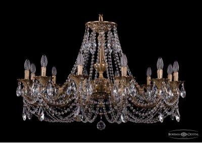 Люстра хрустальная Bohemia Ivele 1702/12/335/C/FPПодвесные<br><br><br>S освещ. до, м2: 36<br>Тип товара: Люстра хрустальная<br>Тип лампы: накаливания / энергосбережения / LED-светодиодная<br>Тип цоколя: E14<br>Количество ламп: 12<br>MAX мощность ламп, Вт: 60<br>Размеры: Диаметр - 99см<br>Цвет арматуры: Французская патина