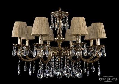 Люстра хрустальная Bohemia Ivele 1702/8/265/A/GB/SH7Подвесные<br><br><br>S освещ. до, м2: 24<br>Тип товара: Люстра хрустальная<br>Тип лампы: накаливания / энергосбережения / LED-светодиодная<br>Тип цоколя: E14<br>Количество ламп: 8<br>MAX мощность ламп, Вт: 60<br>Размеры: Диаметр - 70см<br>Цвет арматуры: Золото черненное