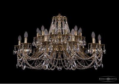 Люстра хрустальная большая Bohemia Ivele 1703/24/360/C/GWПодвесные<br><br><br>S освещ. до, м2: 72<br>Тип товара: Большая хрустальная люстра<br>Тип лампы: накаливания / энергосбережения / LED-светодиодная<br>Тип цоколя: E14<br>Количество ламп: 24<br>MAX мощность ламп, Вт: 60<br>Размеры: Диаметр - 104см<br>Цвет арматуры: Золото беленное