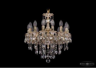 Люстра хрустальная Bohemia Ivele 1707/14/125/B/GWПодвесные<br><br><br>S освещ. до, м2: 42<br>Тип товара: Люстра хрустальная<br>Тип лампы: накаливания / энергосбережения / LED-светодиодная<br>Тип цоколя: E14<br>Количество ламп: 14<br>MAX мощность ламп, Вт: 60<br>Размеры: Диаметр - 48см<br>Цвет арматуры: Золото беленное
