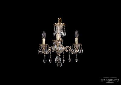 Люстра хрустальная Bohemia Ivele 1707/3/125/A/GWПодвесные<br><br><br>S освещ. до, м2: 9<br>Тип товара: Люстра хрустальная<br>Тип лампы: накаливания / энергосбережения / LED-светодиодная<br>Тип цоколя: E14<br>Количество ламп: 3<br>MAX мощность ламп, Вт: 60<br>Размеры: Диаметр - 42см<br>Цвет арматуры: Золото беленное