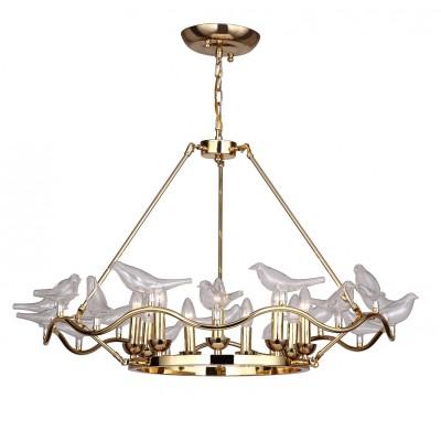 Люстра Favourite 1750-9P PajaritosПодвесные<br>Выбирая модель светильника Favourite 1750-9P, обратите внимание, что арматура золотого цвета, декоративные птички из выдувного стекла. Дополнительная информация в характеристиках или по телефону.<br><br>Установка на натяжной потолок: Да<br>S освещ. до, м2: 18<br>Крепление: Планка<br>Тип цоколя: E14<br>Количество ламп: 9<br>MAX мощность ламп, Вт: 40<br>Диаметр, мм мм: 900<br>Размеры: D900*H530/1530<br>Высота, мм: 530 - 1530<br>Цвет арматуры: золотой<br>Общая мощность, Вт: 40W