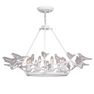 Люстра Favourite 1751-9P PajaritosПодвесные<br>Выбирая модель светильника Favourite 1751-9P, обратите внимание, что арматура белого цвета, декоративные птички из выдувного стекла. Дополнительная информация в характеристиках или по телефону.<br><br>Установка на натяжной потолок: Да<br>S освещ. до, м2: 18<br>Крепление: Планка<br>Тип цоколя: E14<br>Количество ламп: 9<br>MAX мощность ламп, Вт: 40<br>Диаметр, мм мм: 900<br>Размеры: D900*H530/1530<br>Высота, мм: 530 - 1530<br>Цвет арматуры: белый<br>Общая мощность, Вт: 40W