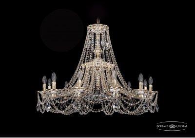 Люстра Bohemia Ivele 1771/12/340/C/GWПодвесные<br><br><br>S освещ. до, м2: 24<br>Тип товара: Люстра<br>Тип лампы: накаливания / энергосбережения / LED-светодиодная<br>Тип цоколя: E14<br>Количество ламп: 12<br>MAX мощность ламп, Вт: 40<br>Диаметр, мм мм: 1000<br>Высота, мм: 740<br>Цвет арматуры: Золото беленное