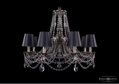 Люстра хрустальная Bohemia Ivele 1771/8/220/C/NB/SH25Подвесные<br><br><br>S освещ. до, м2: 24<br>Тип товара: Люстра хрустальная<br>Тип лампы: накаливания / энергосбережения / LED-светодиодная<br>Тип цоколя: E14<br>Количество ламп: 8<br>MAX мощность ламп, Вт: 60<br>Размеры: Диаметр - 69см<br>Цвет арматуры: Никель черненный