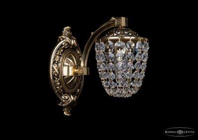 Бра хрустальное Bohemia Ivele 1772/1/150/GBХрустальные<br><br><br>S освещ. до, м2: 1<br>Тип товара: Люстра хрустальная<br>Тип лампы: накаливания / энергосбережения / LED-светодиодная<br>Тип цоколя: E14<br>Количество ламп: 1<br>MAX мощность ламп, Вт: 60<br>Размеры: Диаметр - 13*24см<br>Цвет арматуры: золотой с чернением