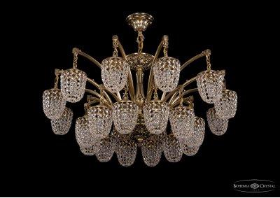 Люстра хрустальная большая Bohemia Ivele 1772/24/342/GBПодвесные<br><br><br>S освещ. до, м2: 72<br>Тип товара: Большая хрустальная люстра<br>Тип лампы: накаливания / энергосбережения / LED-светодиодная<br>Тип цоколя: E14<br>Количество ламп: 24<br>MAX мощность ламп, Вт: 60<br>Размеры: Диаметр - 104см<br>Цвет арматуры: Золото черненное