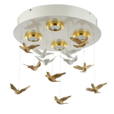 Потолочный светильник Favourite 1782-4U RudelПотолочные<br>Выбирая модель светильника Favourite 1782-4U, обратите внимание, что каркас белого цвета, декоративные птички из гипса белого и золотого цвета, лампа GU10 в комплекте. Дополнительная информация в характеристиках или по телефону.<br><br>S освещ. до, м2: 8<br>Крепление: Планка<br>Тип цоколя: GU10 LED<br>Количество ламп: 4<br>MAX мощность ламп, Вт: 5<br>Диаметр, мм мм: 360<br>Размеры: D360*H340<br>Высота, мм: 340<br>Общая мощность, Вт: 5W