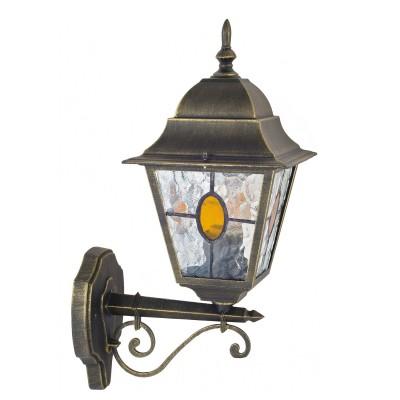 Уличный светильник Favourite 1804-1W ZagrebНастенные<br>Выбирая модель светильника Favourite 1804-1W, обратите внимание, что металл черный с золотой патиной, плафон из полупрозрачного стекла с эффектом льда и вставкой коньячного цвета. Дополнительная информация в характеристиках или по телефону.<br><br>Тип цоколя: E27<br>Количество ламп: 1<br>Ширина, мм: 180<br>Размеры: D250*W180*H450<br>Длина, мм: 250<br>Высота, мм: 450<br>Общая мощность, Вт: 100W