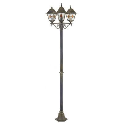 Уличный светильник Favourite 1804-3F ZagrebУличные фонари с несколькими плафонами<br>Выбирая модель светильника Favourite 1804-3F, обратите внимание, что металл черный с золотой патиной, плафон из полупрозрачного стекла с эффектом льда и вставкой коньячного цвета. Дополнительная информация в характеристиках или по телефону.<br><br>Тип цоколя: E27<br>Количество ламп: 3<br>Диаметр, мм мм: 610<br>Размеры: D610*H2080<br>Высота, мм: 2080<br>Общая мощность, Вт: 100W