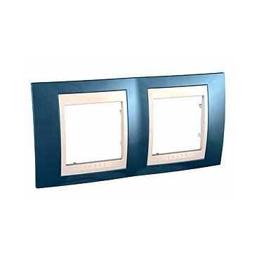 Рамка 2-ая гориз MGU6.004.554Unica Хамелеон<br>Технические характеристикиЦвет: Голубой лед/бежевый.Посты: 2.Модульность: 4.Размер: 80 х 161 мм.Степень защиты: IP40.Дополнительная информация:Материал - пластик. Горизонтальная установка.<br><br>Оттенок (цвет): голубой