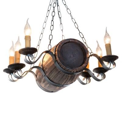 Люстра бочонок Дубравия 187-64-16 БОЧЕНОКПодвесные<br>Только у нас Вы сможете купить люстру в виде бочонка для бани или гостевого   дома в стиле рустика - приближенном к деревянному стилю дизайн интерьера   по уникальной цене! 6 лампами Вы сможете осветить до 25 квадратных   метров помещения.<br><br>Установка на натяжной потолок: Да<br>S освещ. до, м2: 12<br>Крепление: Крюк<br>Тип лампы: накаливания / энергосбережения / LED-светодиодная<br>Тип цоколя: E14<br>Количество ламп: 6<br>Ширина, мм: 450<br>MAX мощность ламп, Вт: 40<br>Длина, мм: 400<br>Высота, мм: 1200<br>Поверхность арматуры: матовый<br>Оттенок (цвет): белый<br>Цвет арматуры: Состаренное дерево венге<br>Общая мощность, Вт: 240