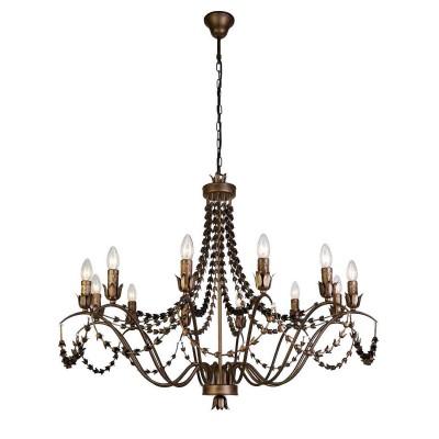 Favourite Girlande 1889-12P ЛюстраПодвесные<br><br><br>S освещ. до, м2: 24<br>Крепление: крюк<br>Тип цоколя: E14<br>Количество ламп: 12<br>MAX мощность ламп, Вт: 40<br>Размеры: D980*H780/1780<br>Цвет арматуры: золотой