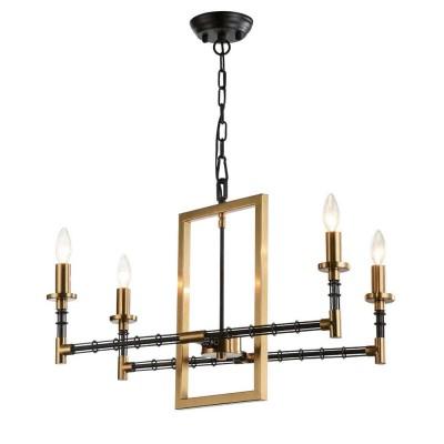 Favourite Angular 1906-4P ЛюстраПодвесные<br><br><br>S освещ. до, м2: 8<br>Крепление: планка<br>Тип цоколя: E14<br>Количество ламп: 4<br>MAX мощность ламп, Вт: 40<br>Размеры: L560*W330*H460/1460<br>Цвет арматуры: черный с золотом