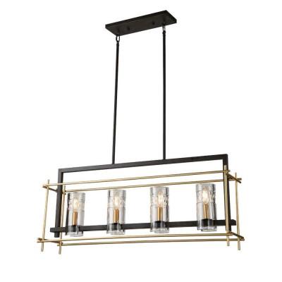 Favourite Coppa 1912-4P ЛюстраПодвесные<br><br><br>Установка на натяжной потолок: Да<br>S освещ. до, м2: 8<br>Крепление: планка<br>Тип цоколя: E14<br>Количество ламп: 4<br>Ширина, мм: 215<br>MAX мощность ламп, Вт: 40<br>Размеры: L915*W215*H485/1185<br>Длина, мм: 915<br>Высота, мм: 485 - 1185<br>Цвет арматуры: черный с золотом
