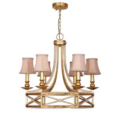 Люстра Favourite 1922-6P MarquiseПодвесные<br><br><br>Установка на натяжной потолок: Да<br>S освещ. до, м2: 12<br>Крепление: планка<br>Тип цоколя: E14<br>Количество ламп: 6<br>MAX мощность ламп, Вт: 40<br>Диаметр, мм мм: 680<br>Размеры: D680*H630/1630<br>Высота, мм: 630 - 1630<br>Цвет арматуры: золотой