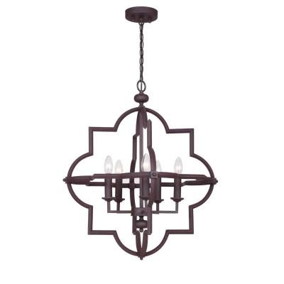 Favourite David 1924-5P ЛюстраПодвесные<br><br><br>S освещ. до, м2: 10<br>Крепление: планка<br>Тип цоколя: E14<br>Количество ламп: 5<br>MAX мощность ламп, Вт: 40<br>Размеры: D700*H600/1600<br>Цвет арматуры: коричневый