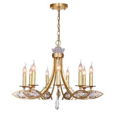 Люстра Favourite 1927-9P TesoroПодвесные<br><br><br>S освещ. до, м2: 18<br>Крепление: планка<br>Тип цоколя: E14<br>Количество ламп: 9<br>MAX мощность ламп, Вт: 40<br>Размеры: D800*H540/1580<br>Цвет арматуры: золотой
