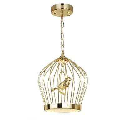 Favourite Chick 1930-2P Люстра клеткаПодвесные<br><br><br>Установка на натяжной потолок: Да<br>S освещ. до, м2: 5<br>Крепление: планка<br>Тип цоколя: LED<br>Количество ламп: 1<br>MAX мощность ламп, Вт: 12+1 LED<br>Диаметр, мм мм: 280<br>Размеры: D280*H340/1140<br>Высота, мм: 340 - 1140<br>Цвет арматуры: золотой