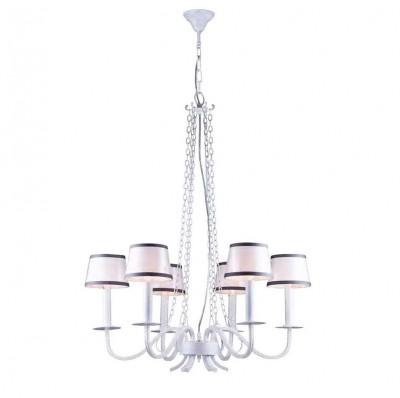 Люстра Favourite 1936-6P ForteПодвесные<br><br><br>Установка на натяжной потолок: Да<br>S освещ. до, м2: 12<br>Крепление: крюк<br>Тип цоколя: E14<br>Количество ламп: 6<br>MAX мощность ламп, Вт: 40<br>Диаметр, мм мм: 720<br>Размеры: D720*H925/1445<br>Высота, мм: 925 - 1445<br>Цвет арматуры: белый