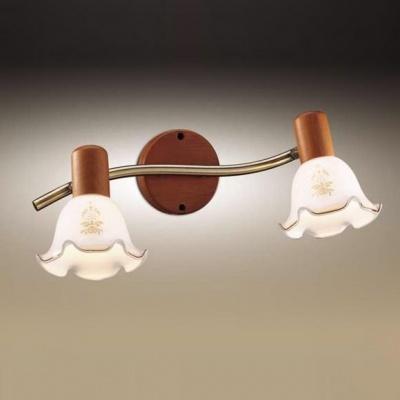 Светильник Odeon light 1977/2W бронза/деревоДвойные<br><br><br>S освещ. до, м2: 5<br>Тип товара: Светильник поворотный спот<br>Тип лампы: накал-я - энергосбер-я<br>Тип цоколя: E14<br>Количество ламп: 2<br>Ширина, мм: 500<br>MAX мощность ламп, Вт: 40<br>Высота, мм: 150<br>Цвет арматуры: бронзовый