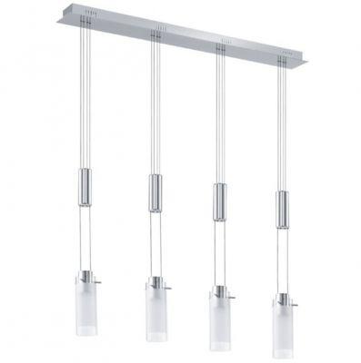 Eglo AGGIUS 91546 Светильник подвеснойПодвесные<br>Австрийское качество модели светильника Eglo 91546 не оставит равнодушным каждого купившего! Закаленное стекло (пр-во Чехия), Хромированное основание, С выключателем, Класс изоляции 2 (плоская вилка, двойная изоляция от вилки до лампы), IP 20, Экологически безопасные технологии, освещенность 480 lm , L=870,H=1100,1X6W,LED.<br><br>Установка на натяжной потолок: Да<br>S освещ. до, м2: 15<br>Крепление: Планка<br>Цветовая t, К: 3000 (теплый белый)<br>Тип цоколя: LED<br>Количество ламп: 4<br>MAX мощность ламп, Вт: 29<br>Размеры основания, мм: 0<br>Длина, мм: 870<br>Высота, мм: 1100<br>Оттенок (цвет): белый, прозрачный<br>Цвет арматуры: серебристый<br>Общая мощность, Вт: 4X6W