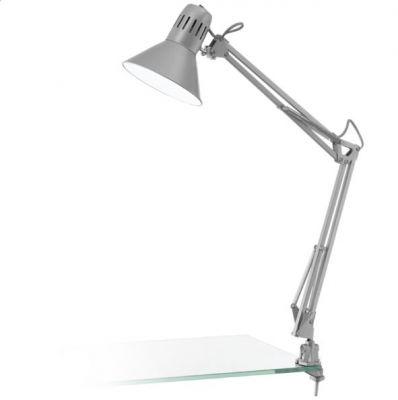 Eglo FIRMO 90874 Офисная настольная лампаНа прищепке<br>Настольная лампа – это не просто источник дополнительного освещения, но и оригинальный элемент декора. Его можно установить в спальне, гостиной, кабинете и других комнатах. Интернет-магазин «Светодом» предлагает настольные лампы разных стилей по доступным ценам. Благодаря большому ассортименту Вы обязательно найдете в нашем каталоге именно ту модель, которую искали.   Настольная лампа Eglo 90874 – прекрасный вариант для завершения интерьера. Ее можно включить одновременно с люстрой для более яркого освещения или без нее для создания уютной атмосферы, настраивающей на отдых.   Купить настольную лампу Eglo 90874 Вы можете с помощью виртуальной «Корзины» или по контактным номерам, указанным на сайте.<br><br>S освещ. до, м2: 2<br>Крепление: прищепка<br>Тип цоколя: E27<br>Количество ламп: 1<br>MAX мощность ламп, Вт: 2<br>Размеры основания, мм: 0<br>Длина, мм: 730<br>Цвет арматуры: серебристый<br>Общая мощность, Вт: 1X40W