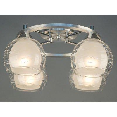 Citilux Буги CL157142 Люстра потолочнаяПотолочные<br><br><br>Установка на натяжной потолок: Ограничено<br>S освещ. до, м2: 20<br>Крепление: Планка<br>Тип товара: Люстра потолочная<br>Тип лампы: накаливания / энергосбережения / LED-светодиодная<br>Тип цоколя: E27<br>Количество ламп: 4<br>MAX мощность ламп, Вт: 75<br>Диаметр, мм мм: 400<br>Размеры: Габариты 40х39,5 см, высота 19,5 см.<br>Высота, мм: 200<br>Оттенок (цвет): белый<br>Цвет арматуры: серебристый