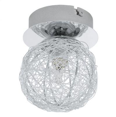 Eglo PRODO 92651 Светильник поворотный споткруглые светильники<br>Австрийское качество модели светильника Eglo 92651 не оставит равнодушным каждого купившего! Плафон в виде клубка из алюминевых нитей, основание хромированная сталь, Класс изоляции 2 (двойная изоляция от вилки до лампы), IP 20, освещенность 470 lm ,D=100,1X33W,G9.<br><br>S освещ. до, м2: 2<br>Крепление: потолочное<br>Тип лампы: галогенная / LED-светодиодная<br>Тип цоколя: G9<br>Цвет арматуры: серебристый<br>Количество ламп: 1<br>Диаметр, мм мм: 100<br>Размеры основания, мм: 0<br>Оттенок (цвет): алюминий<br>MAX мощность ламп, Вт: 33<br>Общая мощность, Вт: 1X33W