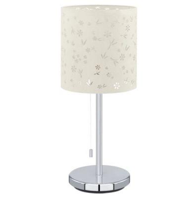 Eglo CHICCO 1 91395 Настольная лампаБелые настольные лампы<br>Австрийское качество модели светильника Eglo 91395 не оставит равнодушным каждого купившего! Основание хромированная сталь, текстильный абажур с растительным орнаментом, Класс изоляции 2 (плоская вилка, двойная изоляция от вилки до лампы), шнурковый выключатель, IP 20, освещенность 860 lm Н=375,D=160,L=160.<br><br>S освещ. до, м2: 4<br>Тип цоколя: E27<br>Цвет арматуры: серебристый<br>Количество ламп: 1<br>Диаметр, мм мм: 160<br>Размеры основания, мм: 130<br>Высота, мм: 375<br>Оттенок (цвет): белый<br>MAX мощность ламп, Вт: 2<br>Общая мощность, Вт: 1X60W