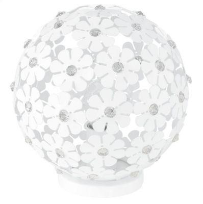 Eglo HANIFA 92286 Настольная лампаВ виде шара<br>Австрийское качество модели светильника Eglo 92286 не оставит равнодушным каждого купившего! Стальной корпус с защитным покрытием белого цвета, алюминевый ажурный орнамент в виде цветков со вставкми хрусталя, Класс изоляции 2 (двойная изоляция), IP 20, освещенность 806 lm ,Н=225,D=200,1X60W,E27.<br><br>S освещ. до, м2: 4<br>Тип лампы: накал-я - энергосбер-я<br>Тип цоколя: E27<br>Количество ламп: 1<br>MAX мощность ламп, Вт: 60<br>Диаметр, мм мм: 250<br>Размеры основания, мм: 120<br>Высота, мм: 255<br>Оттенок (цвет): белый, прозрачный<br>Цвет арматуры: белый<br>Общая мощность, Вт: 1X60W