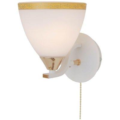 Citilux Симона CL144312 Светильник настенный браМодерн<br><br><br>S освещ. до, м2: 4<br>Тип лампы: накаливания / энергосбережения / LED-светодиодная<br>Тип цоколя: E14<br>Количество ламп: 1<br>Ширина, мм: 120<br>MAX мощность ламп, Вт: 60<br>Размеры: Высота 17см, Ширина 12см, Глубина 16см, прозрачно/матовое стекло, с выключателем<br>Длина, мм: 160<br>Высота, мм: 170<br>Оттенок (цвет): желтый<br>Цвет арматуры: белый, золотой