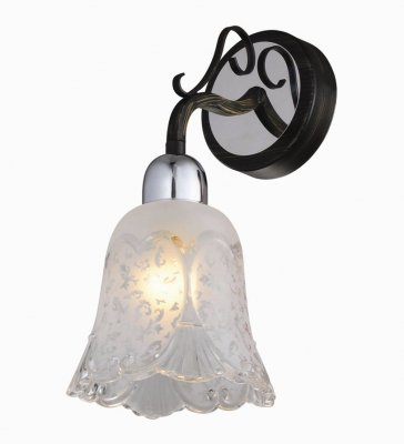 Citilux Оливия CL151311 Светильник настенный браСовременные<br><br><br>S освещ. до, м2: 4<br>Тип лампы: накаливания / энергосбережения / LED-светодиодная<br>Тип цоколя: E14<br>Количество ламп: 1<br>Ширина, мм: 130<br>MAX мощность ламп, Вт: 60<br>Размеры: Высота 27см, Ширина 13см, Глубина 17см, Узорчатое стекло, с выключателем<br>Длина, мм: 170<br>Высота, мм: 270<br>Поверхность арматуры: глянцевый<br>Оттенок (цвет): белый<br>Цвет арматуры: серебристый хром, черный