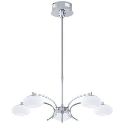 Eglo ALEANDRO 91753 Светильник подвеснойПодвесные<br>Австрийское качество модели светильника Eglo 91753 не оставит равнодушным каждого купившего! Матовое закаленное стекло(пр-во Чехия), Хромированное основание, Регулировка по высоте, Класс изоляции 2 (плоская вилка, двойная изоляция от вилки до лампы), IP 20, Экологически безопасные технологии, освещенность 2400 lm ,Н=1100D=660,5X6W,LED.<br><br>Установка на натяжной потолок: Да<br>S освещ. до, м2: 20<br>Крепление: Планка<br>Цветовая t, К: 3000 (теплый белый)<br>Тип цоколя: LED<br>Цвет арматуры: серебристый<br>Количество ламп: 5<br>Диаметр, мм мм: 660<br>Размеры основания, мм: 0<br>Высота, мм: 1100<br>Оттенок (цвет): белый<br>MAX мощность ламп, Вт: 29<br>Общая мощность, Вт: 5X6W